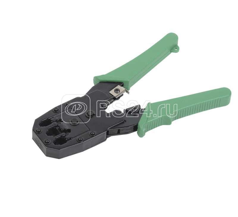 Инструмент обжимной для RJ45; RJ12; RJ11 без храпового механизма ручки из ПВХ с цепочкой зел. ITK TM1-G10V