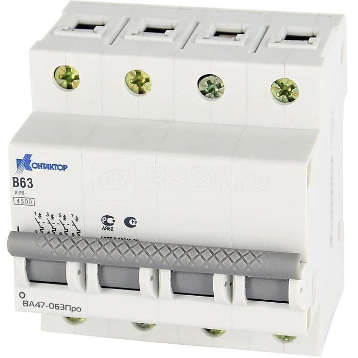 Выключатель автоматический модульный 4п C 3А 4.5кА ВА47-063Про Контактор 7000162 купить в интернет-магазине RS24