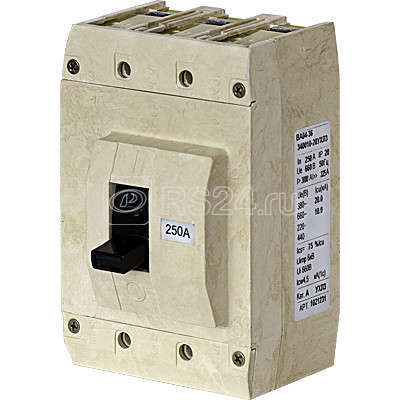 Выключатель автоматический 3п 63А Im=1250А ВА04-36-340010-20 УХЛ3 660В Контактор 1040548 купить в интернет-магазине RS24