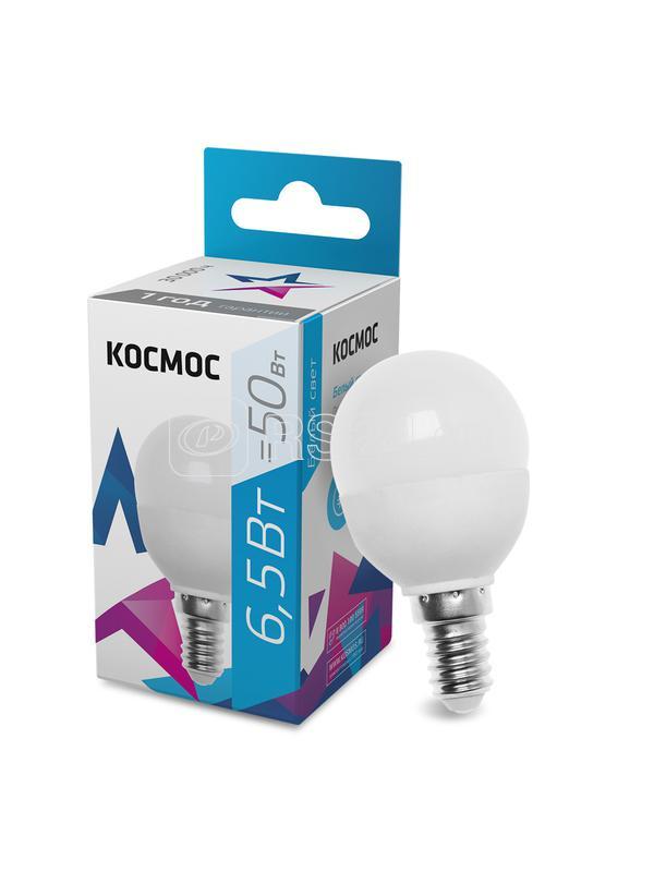 Лампа светодиодная GL45 6.5Вт 220В E14 4500К Космос LkecLED6.5wGL45E1445