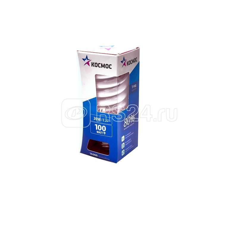 Лампа люминесцентная компакт. SPC 20Вт E27 спиральная 4200К КОСМОС LKsmT2SPC20wE2742