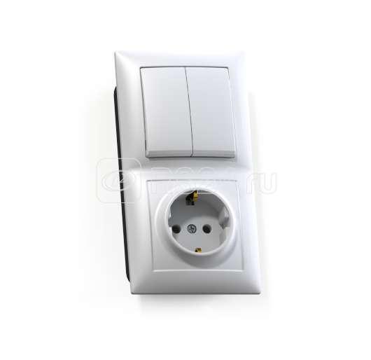 Блок СП БКВР-412 Селена (2-кл. выкл. + розетка с заземл.) бел. Кунцево 8208 купить в интернет-магазине RS24