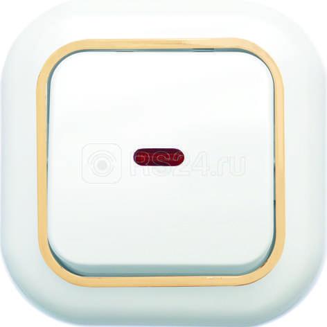 Выключатель 1-кл. СП Валентина 10А IP20 С16-068 с индикацией бел./зол. Кунцево 7646 купить в интернет-магазине RS24
