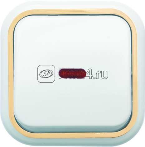 Выключатель 1-кл. ОП Валентина  10А IP20 А16-054 с индик. бел./зол. Кунцево 7633