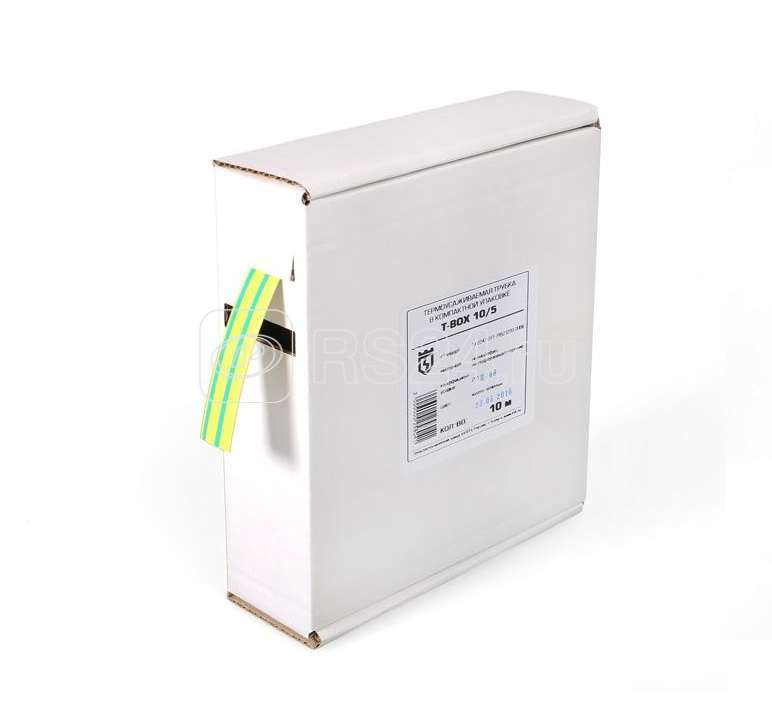 Трубка термоусадочная в евро боксе T-BOX 10/5 жел./зел. (уп.10м) КВТ 65619 купить в интернет-магазине RS24