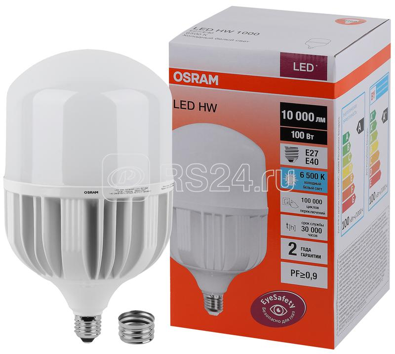 Лампа светодиодная LED HW T 100Вт (замена 1000Вт) матовая 6500К холод. бел. E27/E40 10000лм угол пучка 200град. 140-265В PF>/=09 OSRAM 4058075577015 купить в интернет-магазине RS24