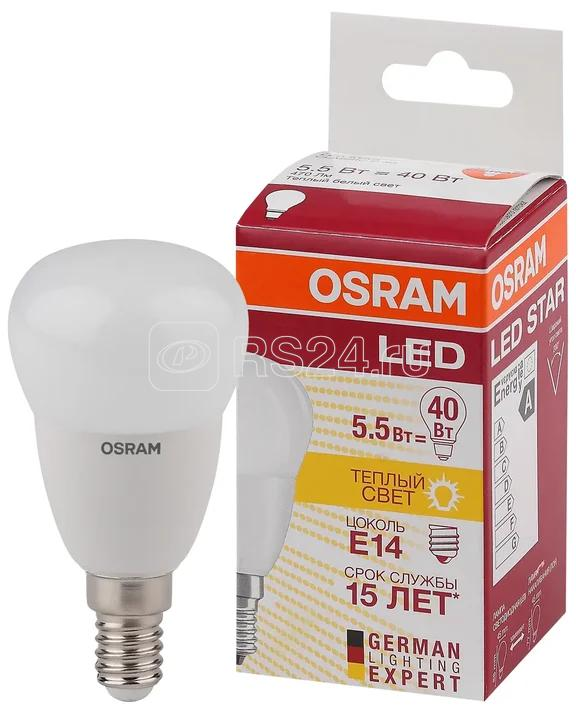 Лампа светодиодная LED STAR CLASSIC P 40 5W/827 5Вт шар 2700К тепл. бел. E14 470лм 220-240В матов. пласт. OSRAM 4052899971615 купить в интернет-магазине RS24