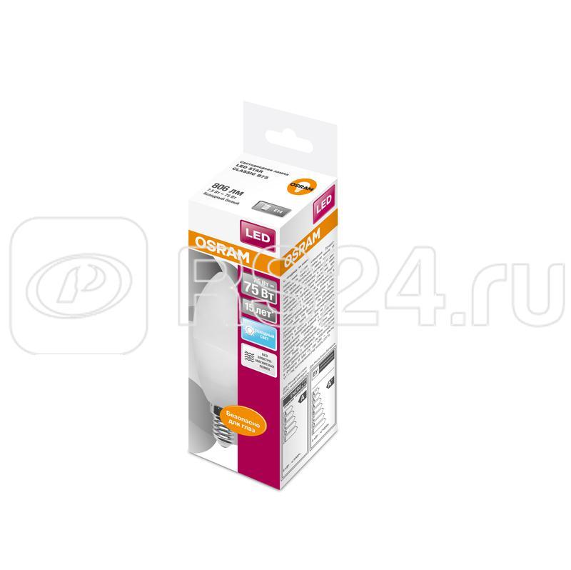Лампа светодиодная LED STAR CLASSIC B 75 8W/840 8Вт свеча 4000К нейтр. бел. E14 806лм 220-240В матов. пласт. OSRAM 4058075210714 купить в интернет-магазине RS24