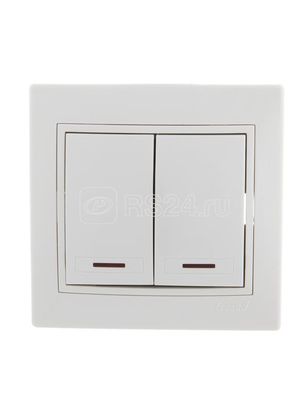Выключатель 2-кл. СП Мира 10А IP20 с подсветкой бел./бел. LEZARD 701-0202-112