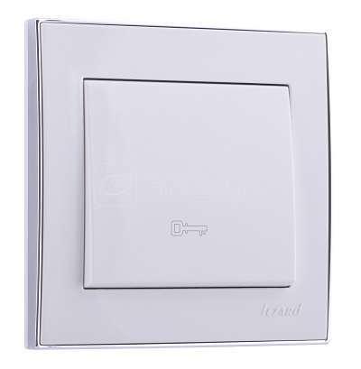 Кнопка дверного автомата Рейн с боковой встав. хром бел. LEZARD 703-0225-104 купить в интернет-магазине RS24