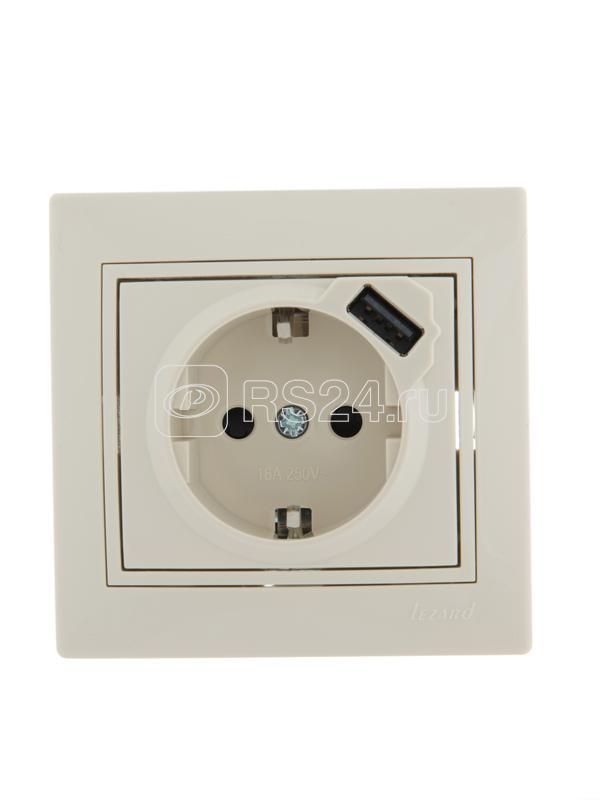 Розетка 1-м СП Мира 16А с з/к +USB крем. Lezard 701-0303-181