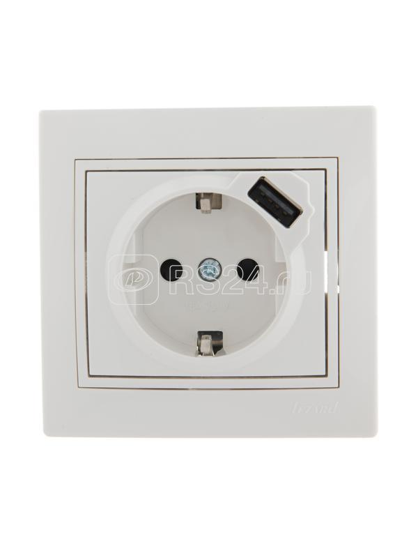 Розетка 1-м СП Мира 16А с з/к + USB разъем бел. LEZARD 701-0202-181 купить в интернет-магазине RS24
