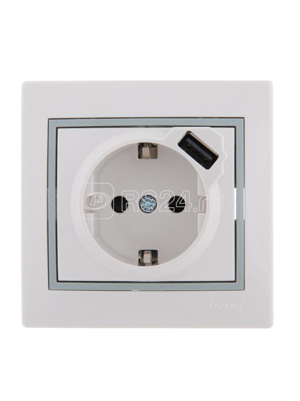 Розетка 1-м СП Мира 16А с з/к + USB разъем бел. с сер. вставкой LEZARD 701-0215-181