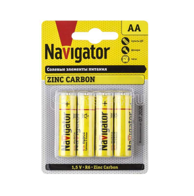 Элемент питания солевой 94 758 NBT-NS-R6-BP4 (блист.4шт) Navigator 94758