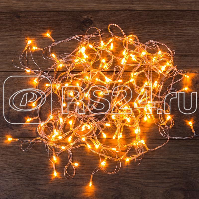 Гирлянда светодиодная универсальная 100LED тепл. бел. 10м провод прозр. с контроллером Neon-Night 303-063 купить в интернет-магазине RS24