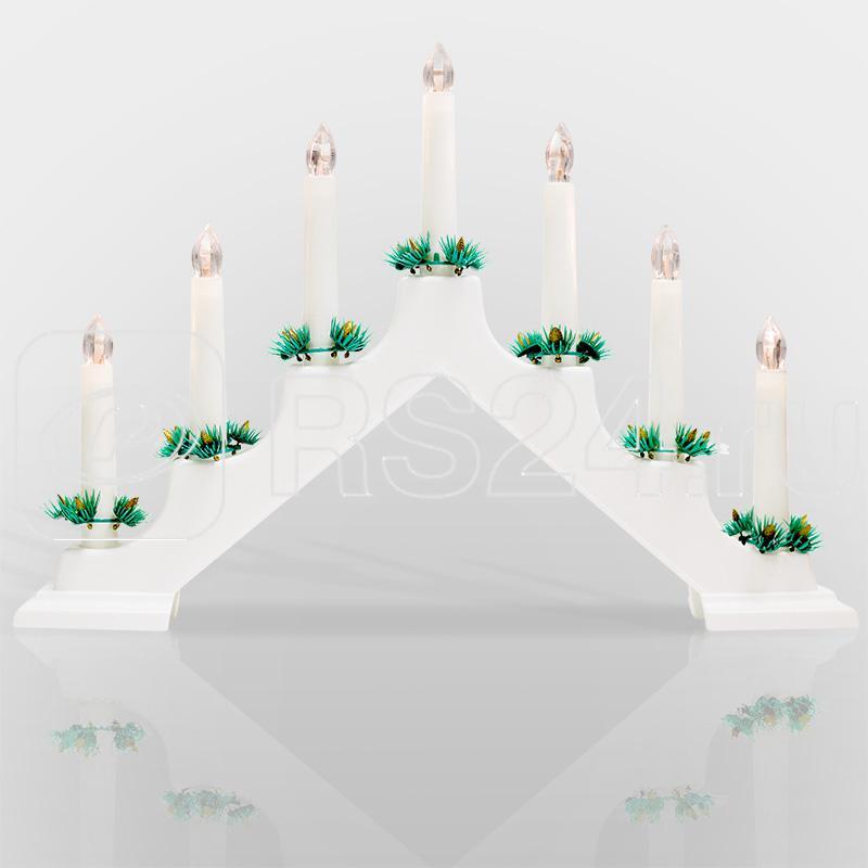 Горка новогодняя 7 свечек корпус бел. свечение тепл. бел. Neon-Night 501-081 купить в интернет-магазине RS24