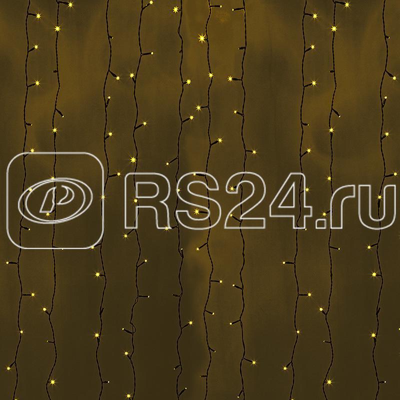 Гирлянда Дождь ПЛЕЙ-ЛАЙТ 2х3м 760LED 45Вт 220В IP44 жел.; фиксинг черн. провод NEON-NIGHT 235-141 купить в интернет-магазине RS24