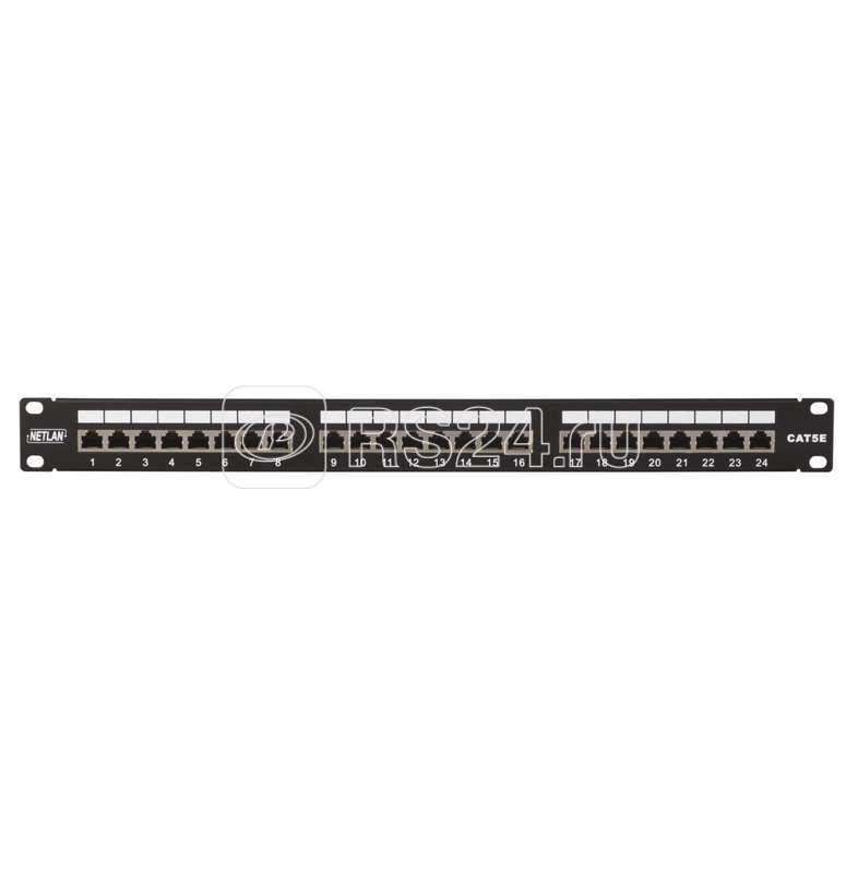 Панель коммутационная 19дюйм 1U 24 порта кат.5e класс D 100МГц RJ45/8P8C 110/KRONE T568A/B экран. черн. NETLAN EC-URP-24-SD2 купить в интернет-магазине RS24