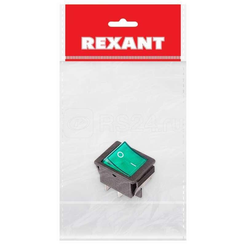 Выключатель клавишный 250В 16А (4с) ON-OFF зел. с подсветкой (RWB-502 SC-767 IRS-201-1) (инд. упак.) Rexant 36-2332-1 купить в интернет-магазине RS24