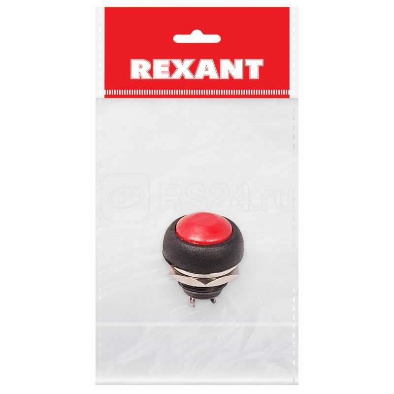 Выключатель-кнопка 250В 1А (2с) (ON)-OFF без фикс. красн. Micro (PBS-33В) (инд. упак.) Rexant 36-3050-1 купить в интернет-магазине RS24