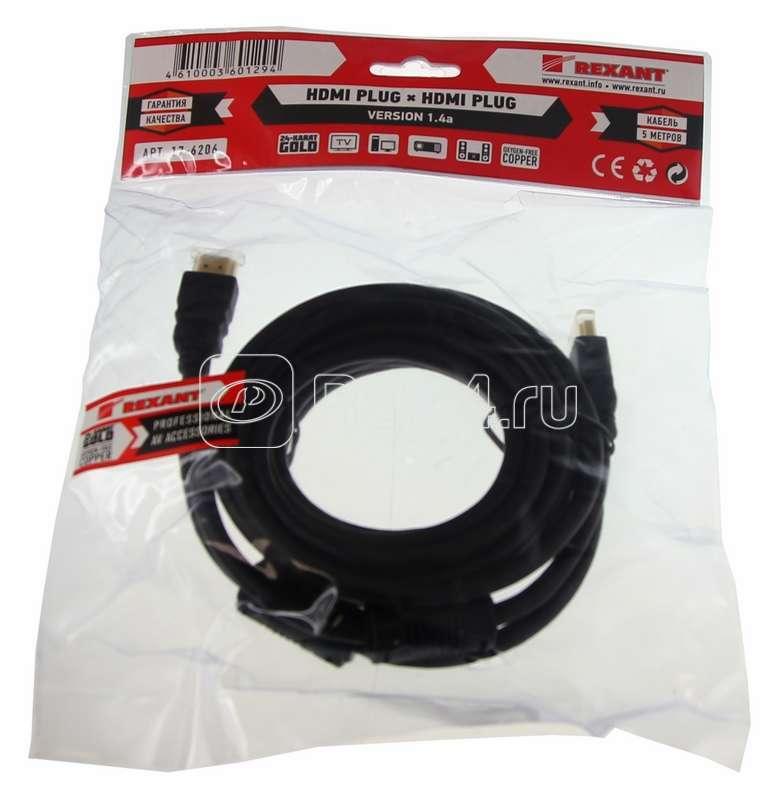 Шнур HDMI - HDMI gold 5м с фильтрами Rexant 17-6206 купить в интернет-магазине RS24