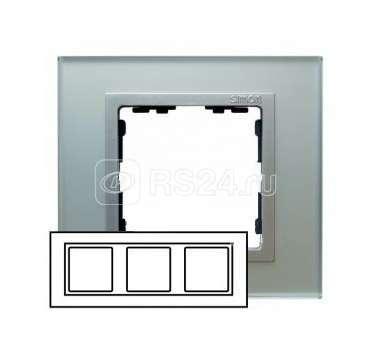 Рамка 3-м Simon82 стекло серебр. Simon 82937-62