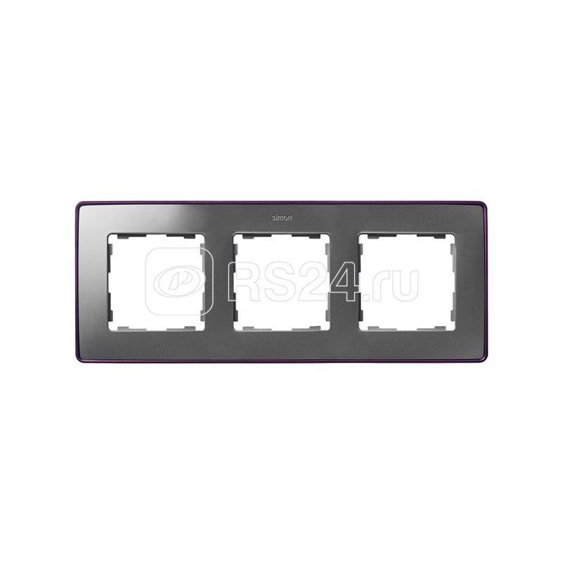 Рамка 3-м Simon82 Detail холодный алюм.; основание фиол. Simon 8201630-254 купить в интернет-магазине RS24