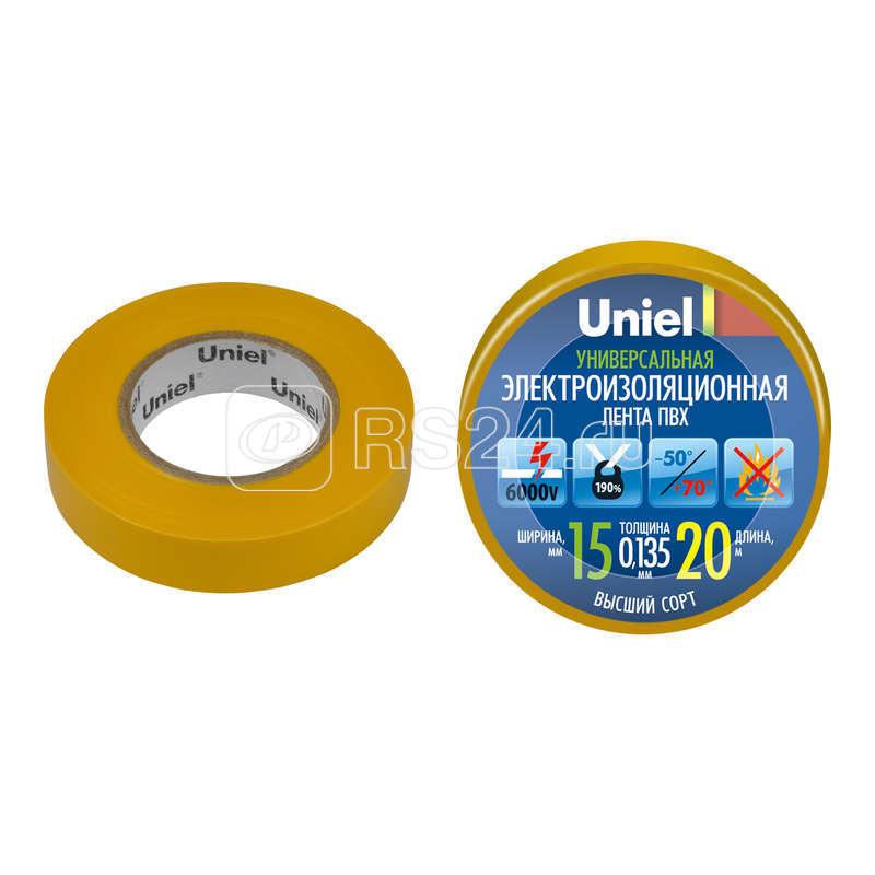Лента изоляционная UIT-135P 20/15/01 YEL 20м/15мм жел. Uniel 04489 купить в интернет-магазине RS24