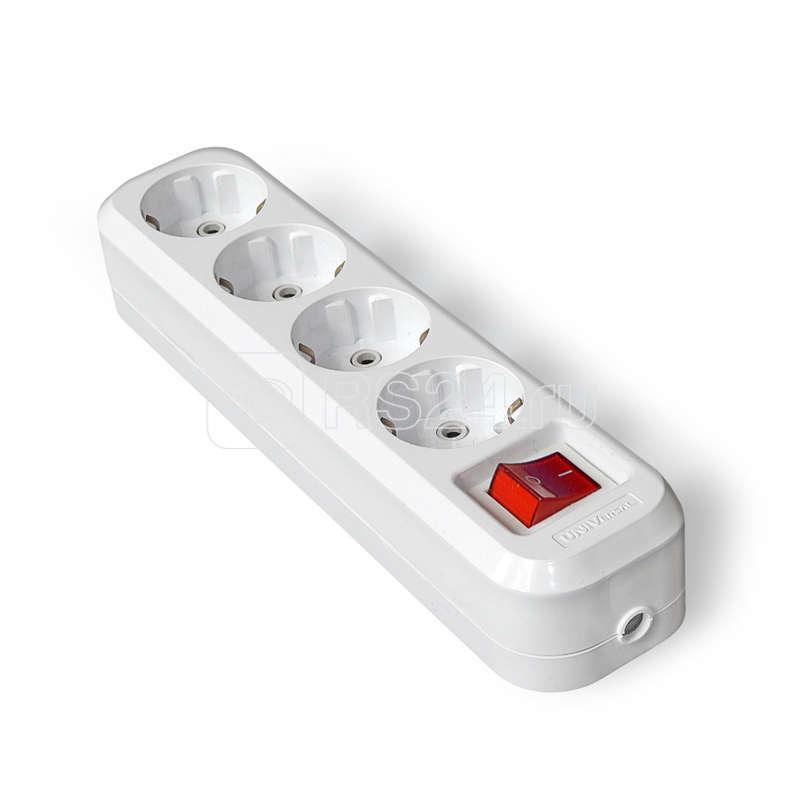 Колодка удлинителя 4-м с выкл. АВС-пл. с заземл. UNIVersal S304