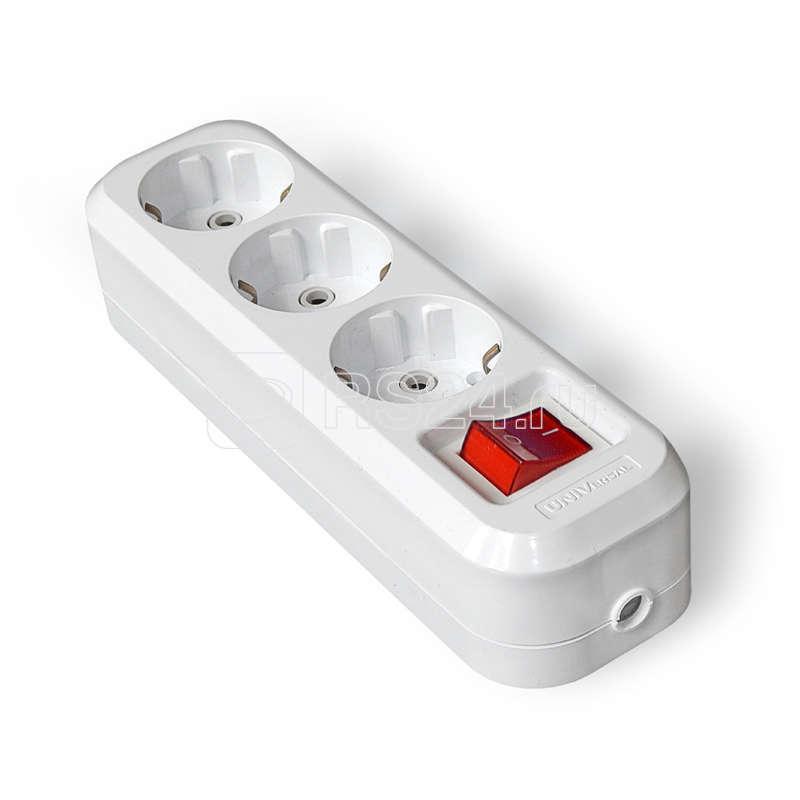 Колодка удлинителя 3-м с выкл. АВС-пл. с заземл. UNIVersal S303